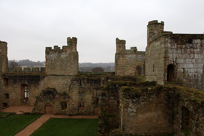 Bodiam castle interior from the wall