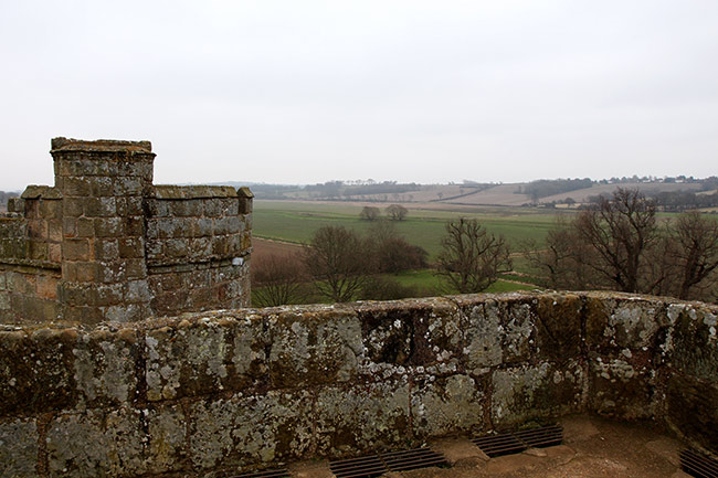 View of countryside from Bodiam Castle Postern tower