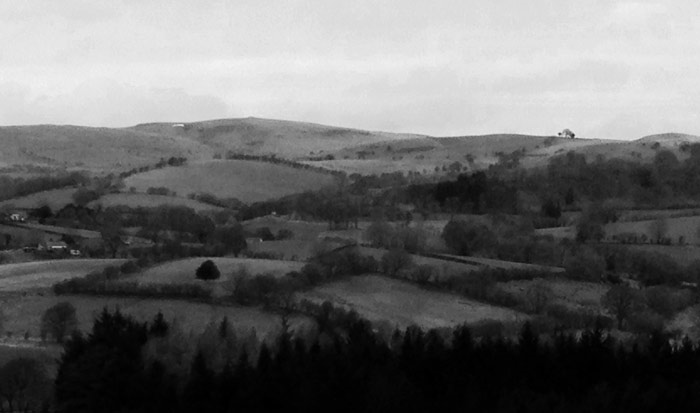 landscape, Powys, black and white